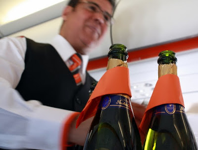 Champagne on an easyJet flight from London to Amman