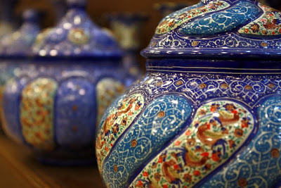 Ceramic bowls at a market in Jordan
