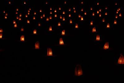 Hundreds of candles at night in Petra Jordan