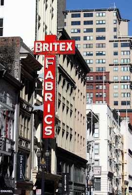 Britex Fabrics sign in San Francisco near Union Square