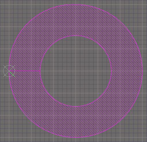 Der fertiggestellte Donut in zwei Dimensionen.