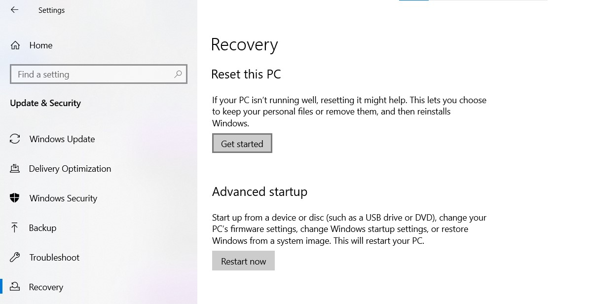 Recovery page in Windows Settings