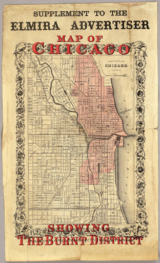 Chicago Fire October 16 1871 Map Showing Burnt Areaon October 8