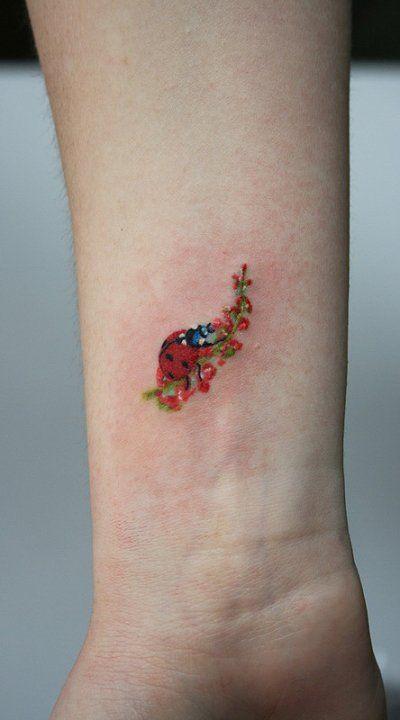 ladybug tattoo on wrist ideas