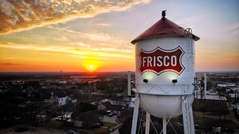 water tower in Frisco, TX