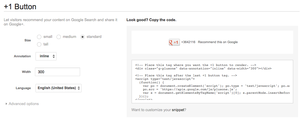 G+ button html config