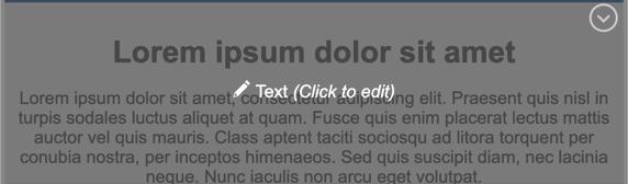Capture d'écran montrant le bloc de contenu du texte grisé avec une superposition de texte blanc indiquant Texte (Cliquez pour modifier).
