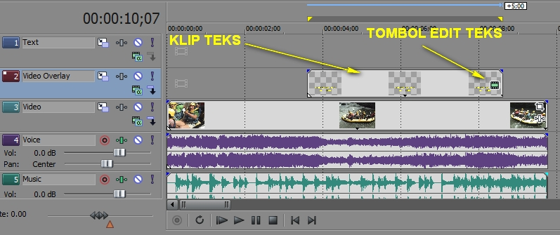 3 Tutorial video editing Sony Vegas 10 : Cara membuat dan mengatur teks (4)