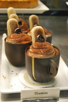 This is a photo of handmade chocolate cups filled with Tiramisu dessert at Sea Beans Cafe in Terranea Resort.