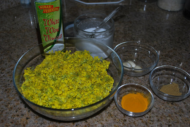 This is a photo of the ingredients in my mustard flower recipe.