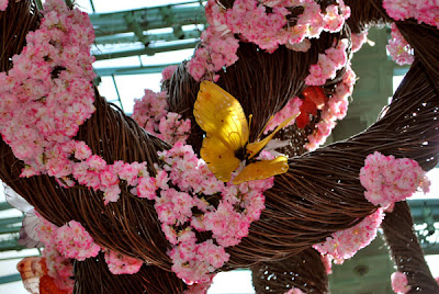 This is a photo of a handcrafted tree with pink blossoms and butterflies inside the Conservatory of the Bellagio Hotel and Casino, Las Vegas, NV.