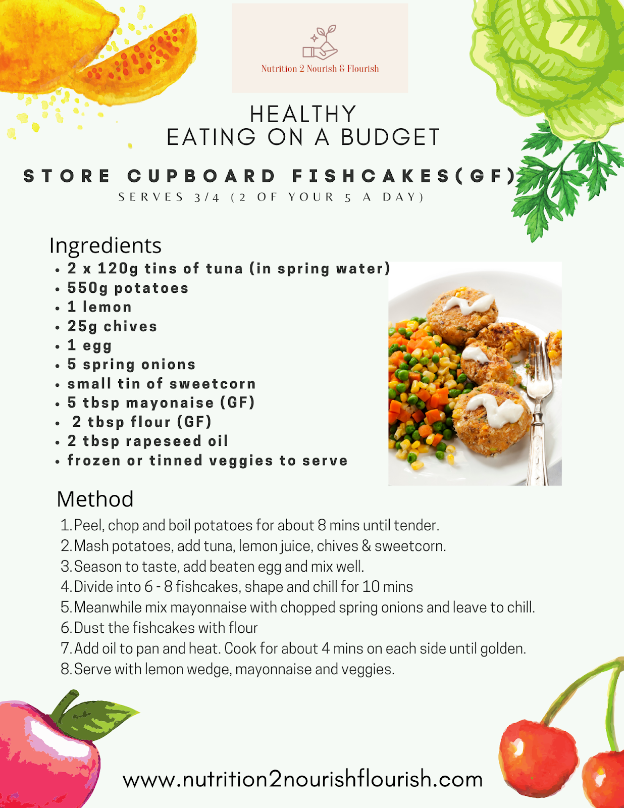 This is a recipe for store cupboard fishcakes (eat well on a budget)