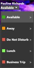 Imposta le opzioni del menu di Stato nel client 3CX per Windows.