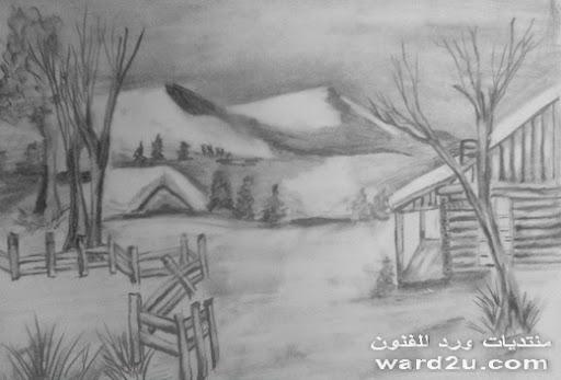 رسم بالقلم الرصاص منظر طبيعى