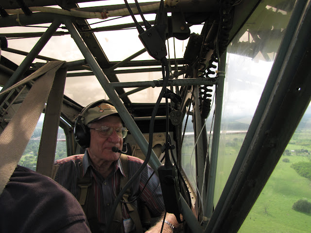 Veteran riding in a Stinson L-5