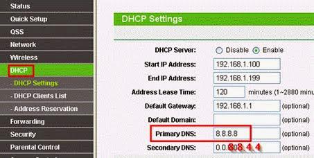 Giao diện phần thiết lập DHCP Server bao gồm DNS Server của modem TP-Link