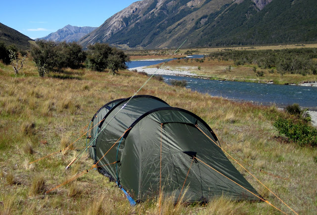 C& set up - had bought a new tent with a large vestibule. It took Chuck and I an hour to figure out how to put it up... man went to the ... & New Zealand 2011 | Fly Fishing Diaries