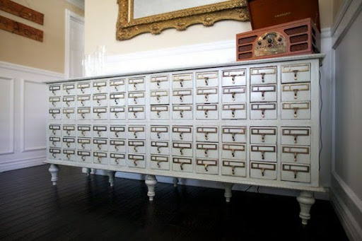 Card catalog to use as wedding decor