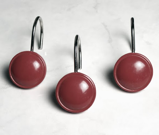 Round Shower Curtain Hooks Burgundy Black Red Mocha Silver Jade ...