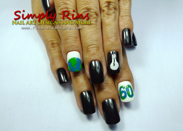 Earth Hour Nail Art
