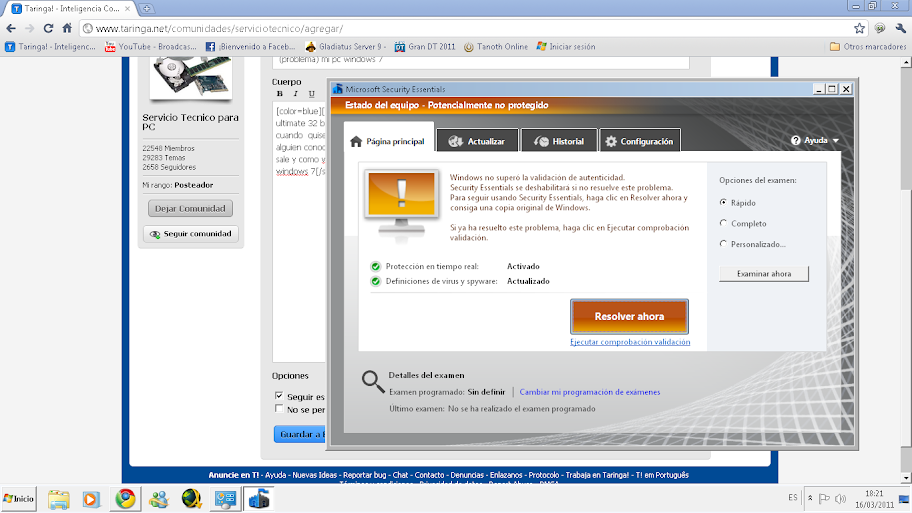 (problema) Windows 7 no paso la prueba de autentificacion