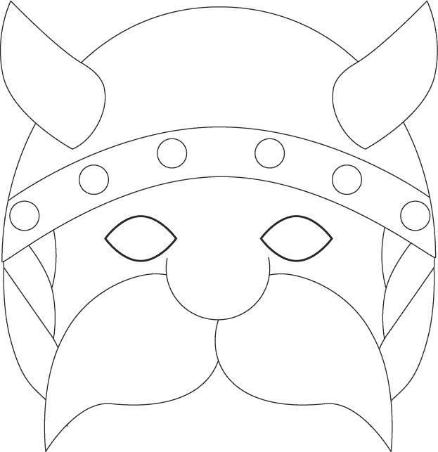 Pinto Dibujos: Máscara de vikingo para colorear