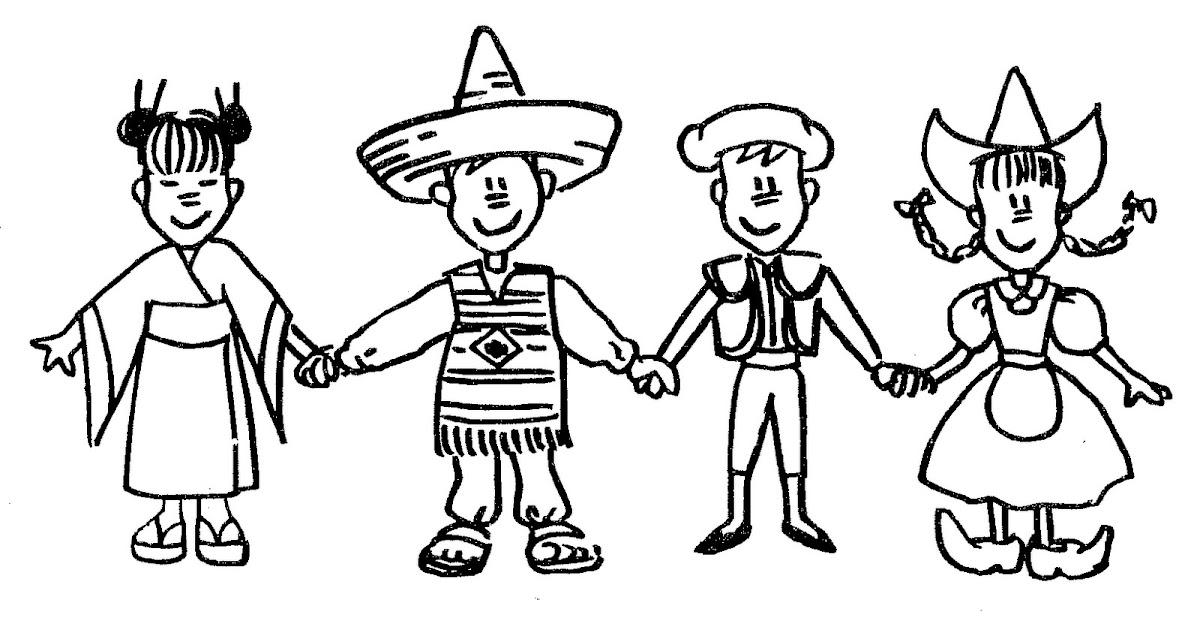 Dibujo De Nacionalidades Para Colorear: Pinto Dibujos: Niños Del Planeta Para Colorear