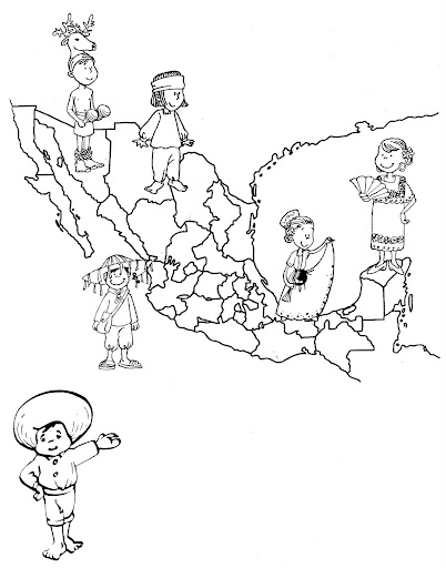 Coloring pages mexico 39 s map of traditional dress free for Mexico map coloring page