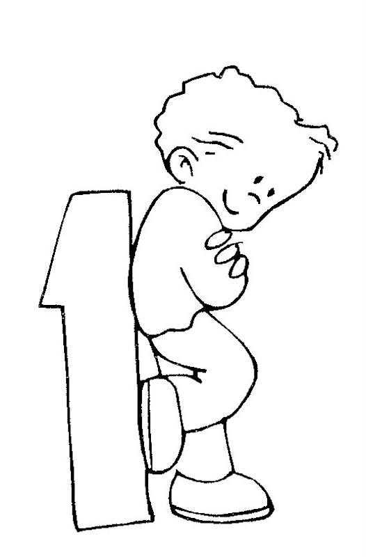 Pinto Dibujos: Niño con número uno para colorear