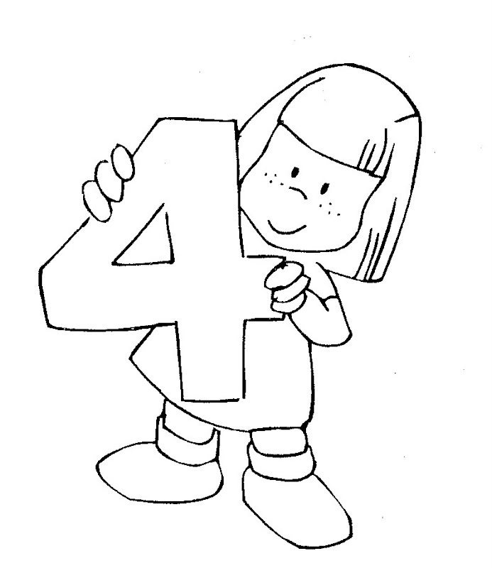 Kid With Number Four Coloring Pages Coloring Pages