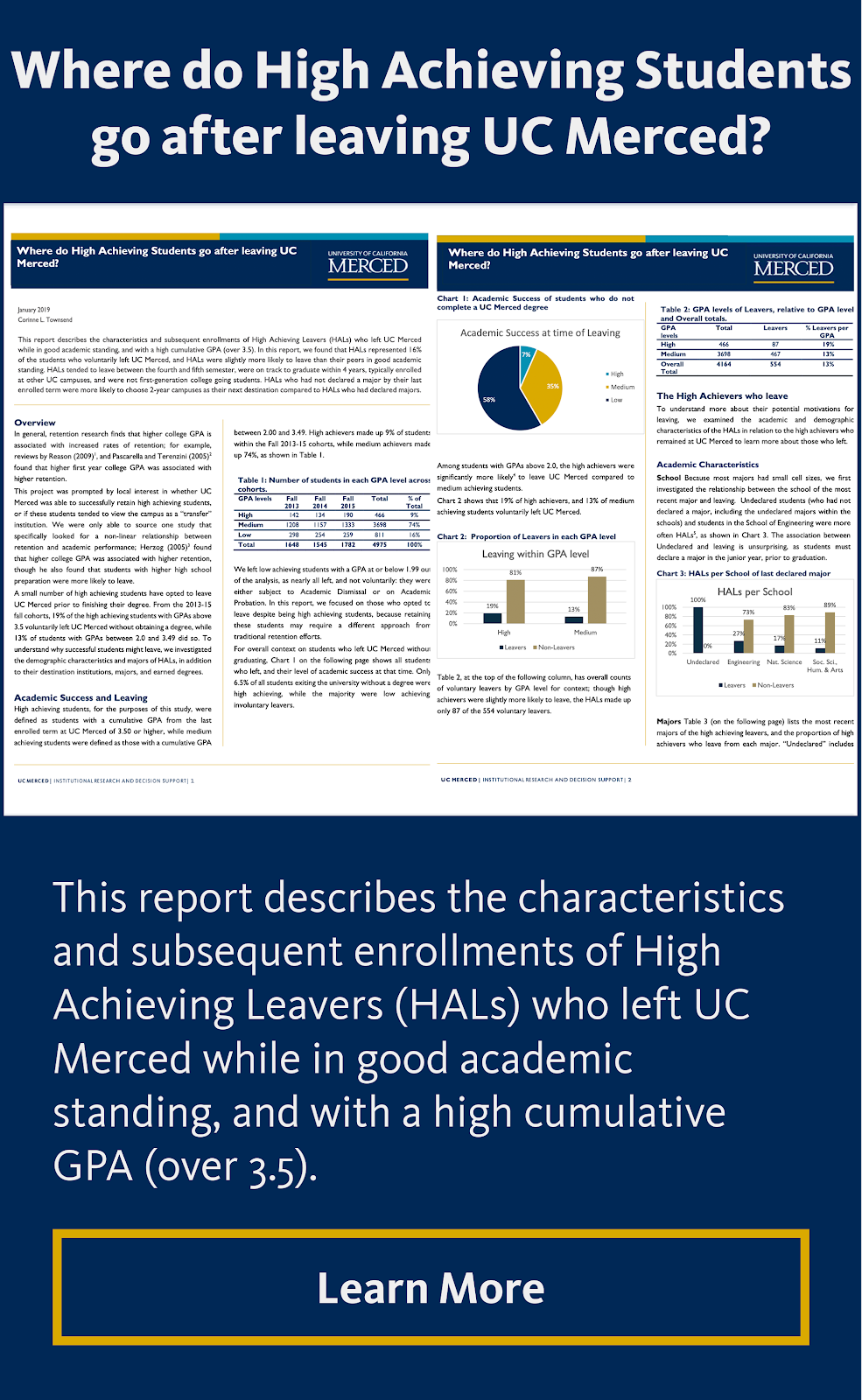 Where do High Achieving Students go after leaving UC Merced?