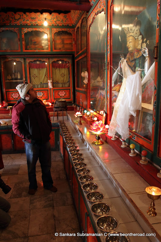 Sreedhar admires the statues inside the Ani Gompa