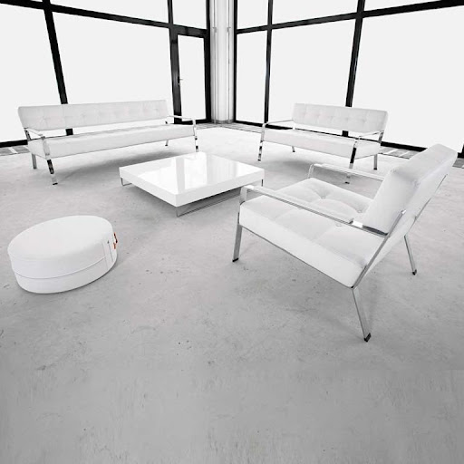 salon waiting white leather room furniture