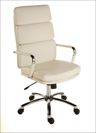 deco white leather office chair with steel arm