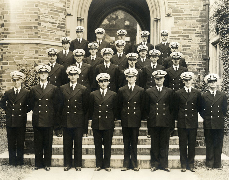 Bill Challas, front row, 4th from left, indoctrination class, Princeton, New Jersey, Sept. 1943