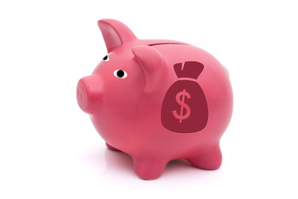 A pink piggy bank with a money bag on a white background, Lots of Money