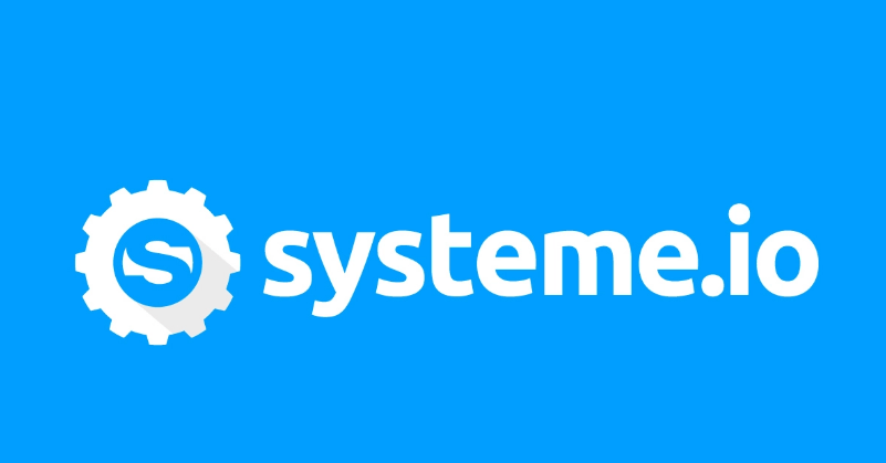 Systeme.io logo on a blue background