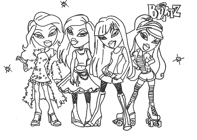 coloring pages for girls names. Bratz Glamor Girls Coloring
