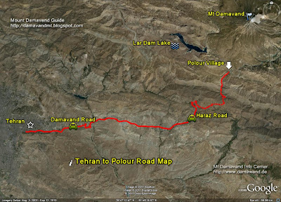 Tehran To Damavand First Camp Map