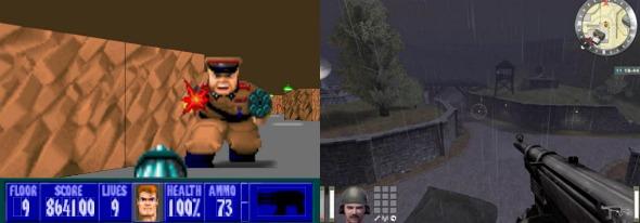 Wolfenstein antigo comparado ao novo.