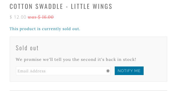 Sold out ecommerce