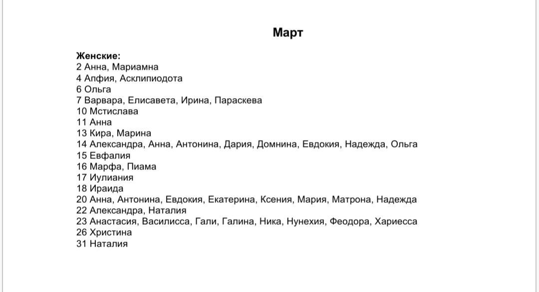 Список женских имен по святцам - март месяц