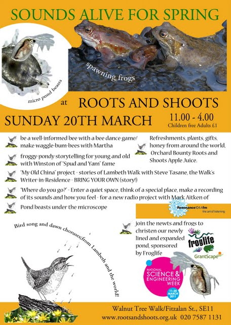 Roots and Shoots flyer on Vassall View