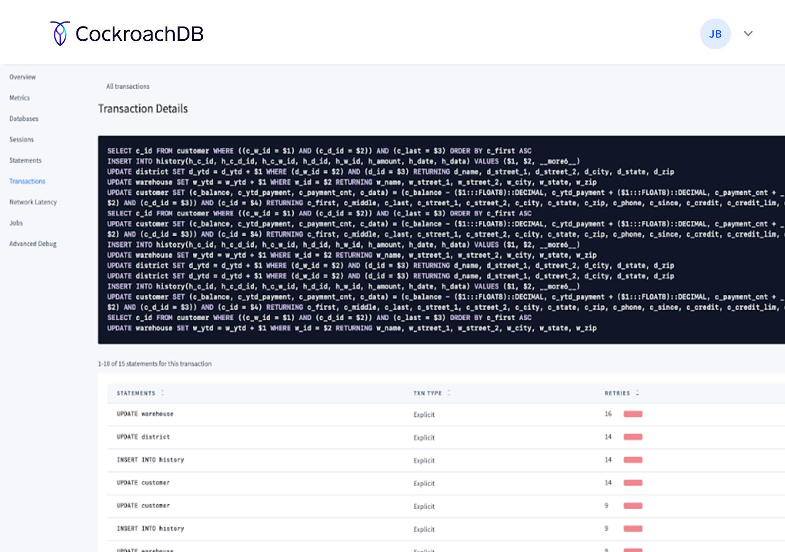 Cockroach DB Console transactions details