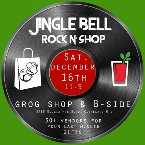 A logo for the Jingle Bell Rock and Shop featuring a record against a green background