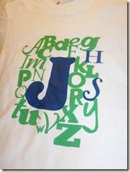 alphabet tee with W added closeup