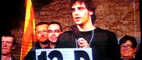 Imatge de TV Olot. Paraules de valoració del 13D a la Garrotxa.