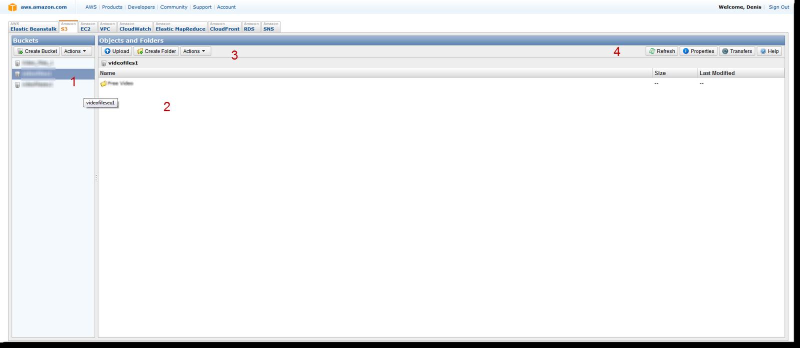 Веб-интерфейс S3 Amazon