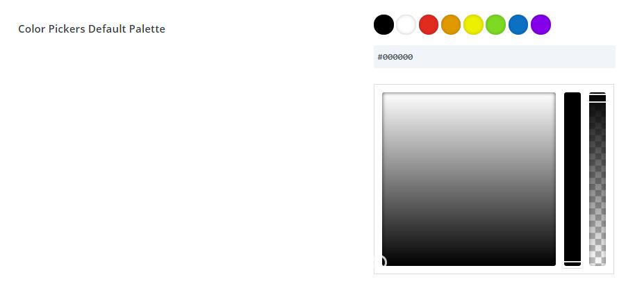 paleta de colores Divi predeterminada en Opciones de tema Divi