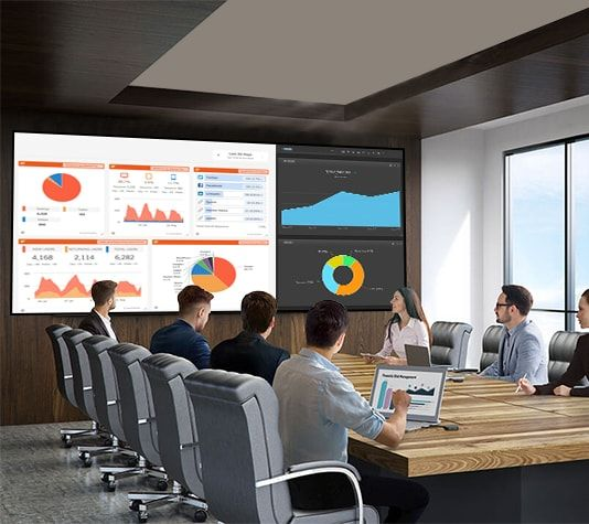 The video wall in a conference meeting, Source: Pinterest - Smart Video Wall - Rev Interactive